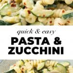 Creamy pasta with zucchini on a brown plate.
