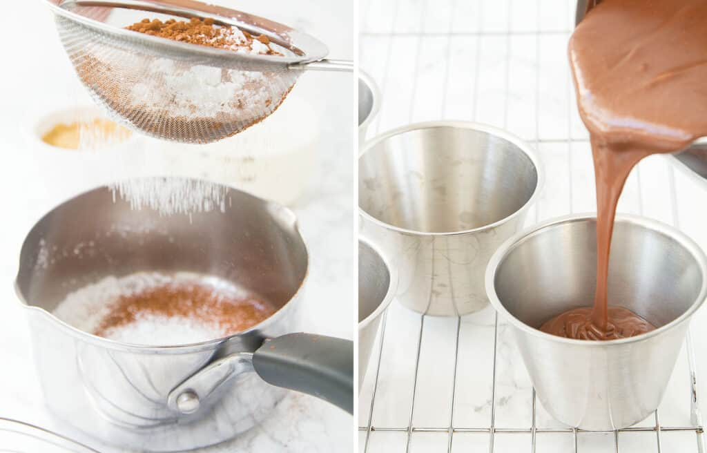 A sieve sifting cocoa powder and corn starch into a saucepan, and a saucepan pouring chocolate pudding into ramekins.
