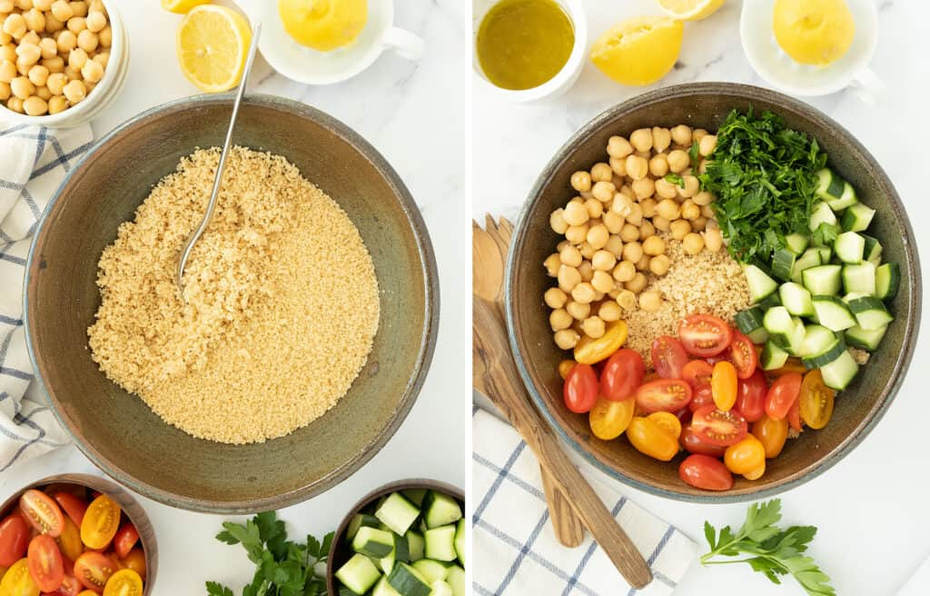 A fork is fluffing the cooked couscous in a large salad bowl, then vegetables, chickpeas and parsley are added to the bowl.