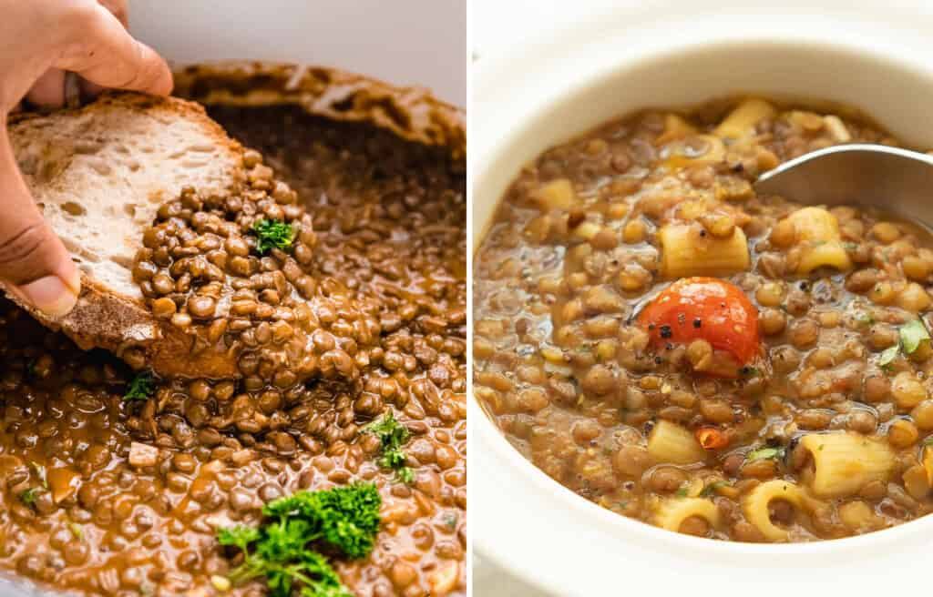Green lentil stew in a white pot with a slice of bread and a white bowl full of pasta with lentils.