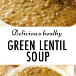 Close-up of a white bowl full of creamy green lentil soup.