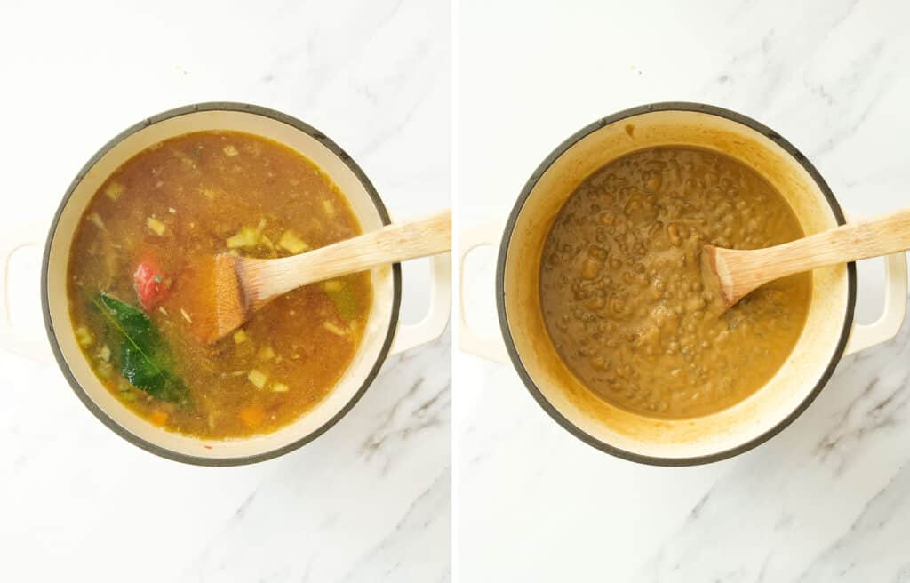 Top view of a white pot full of green lentil soup and a wooden spoon over a white background.