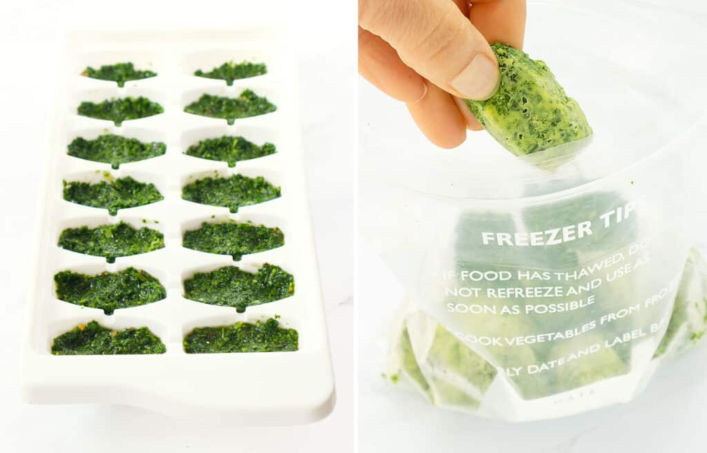 A white ice cube tray with parsley pesto and a freezer bag full of frozen parsley pesto cubes.