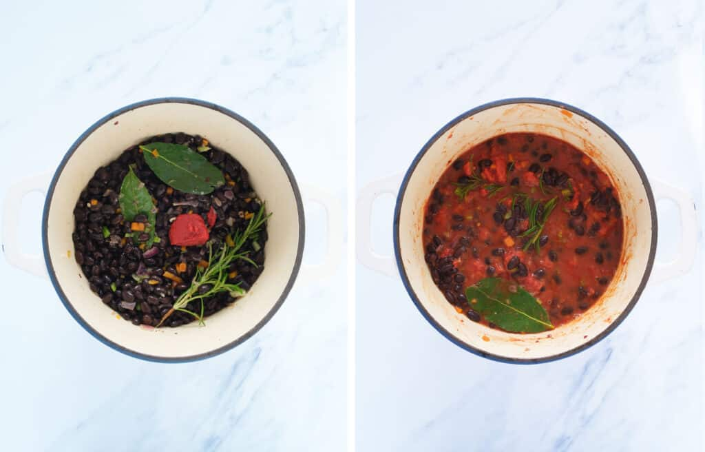 Top view of a pot with black beans , herbs and tomato sauce.