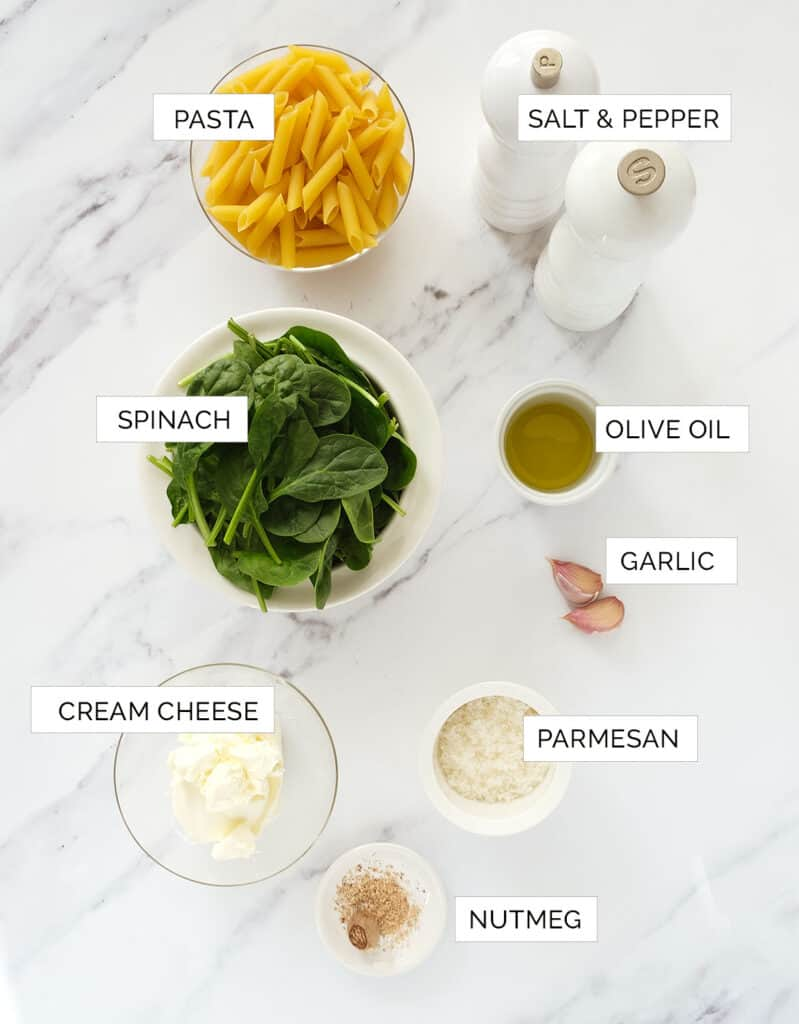 Top view of the ingredients to make this pasta with spinach sauce recipe.