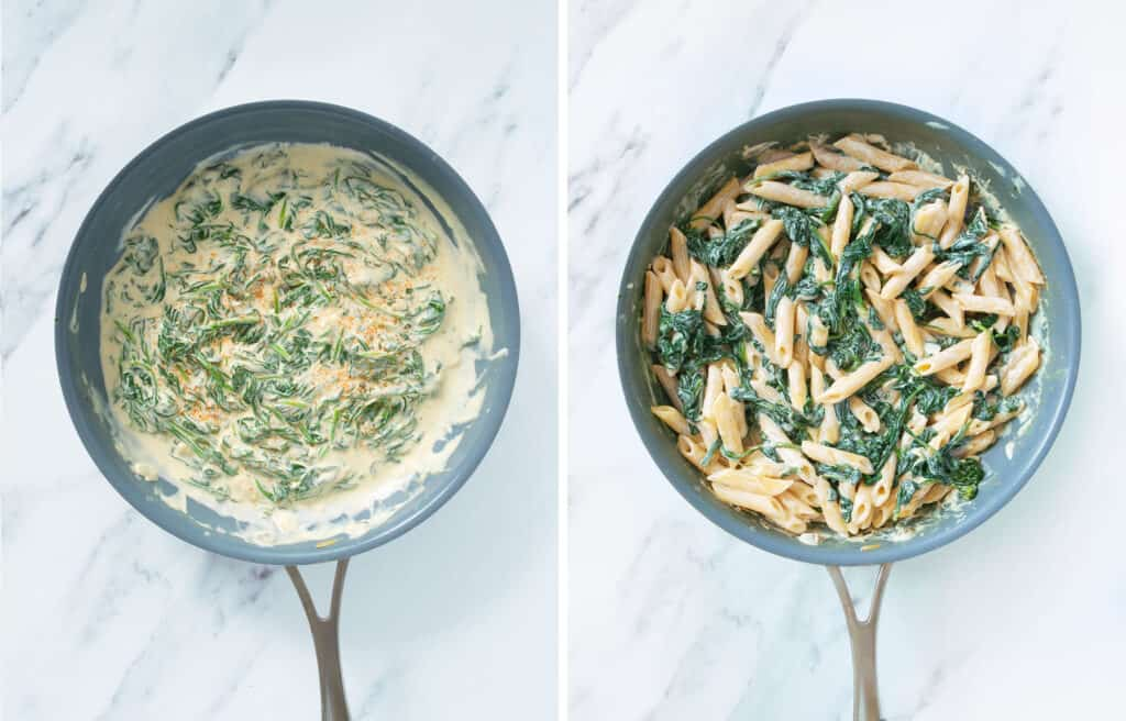 Top view of a skillet with creamy spinach sauce and pasta over a white background.