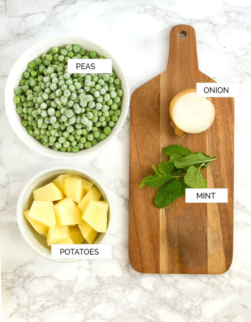 Top view of the ingredients to make this pea soup recipe.