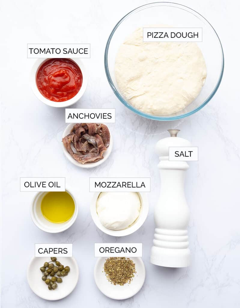 The ingredients to make anchovy pizza are arranged over a white background.