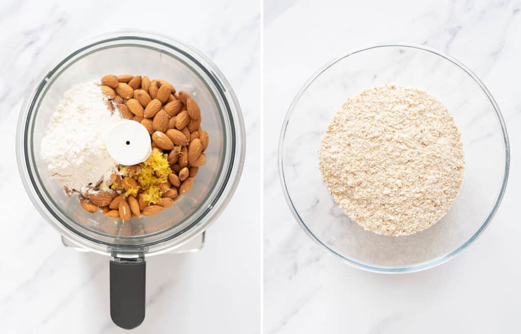 Top view of the almonds and the rest of the dry ingredients in a food processor and in a glass bowl.