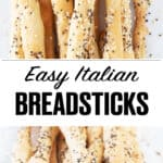 Close-up of Italian breadsticks with seeds.