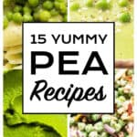 Close-up of four different pea recipes: pasta, soup, puree and salad.