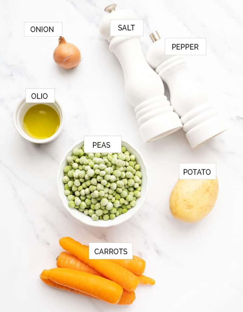 The ingredients to cook these quick peas and carrots are arranged over a white background.