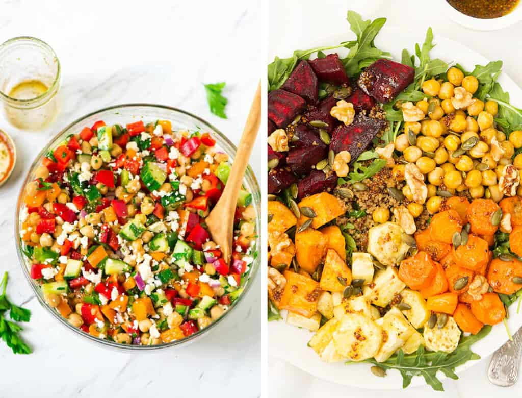 Top view of a salad bowl full of Mediterranean chickpea salad and top view of a white plate full of chickpeas and roasted root vegetables - by Well Plated by Erin