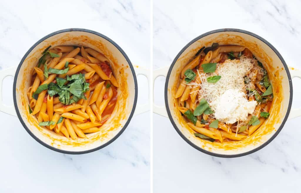 Top view of one pot full of penne pasta, basil, tomato sauce, ricotta and parmesan.