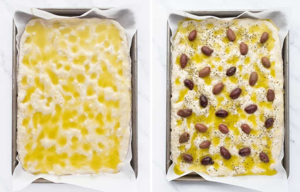Top view of a baking pan with focaccia, olive oil brine and black olives.