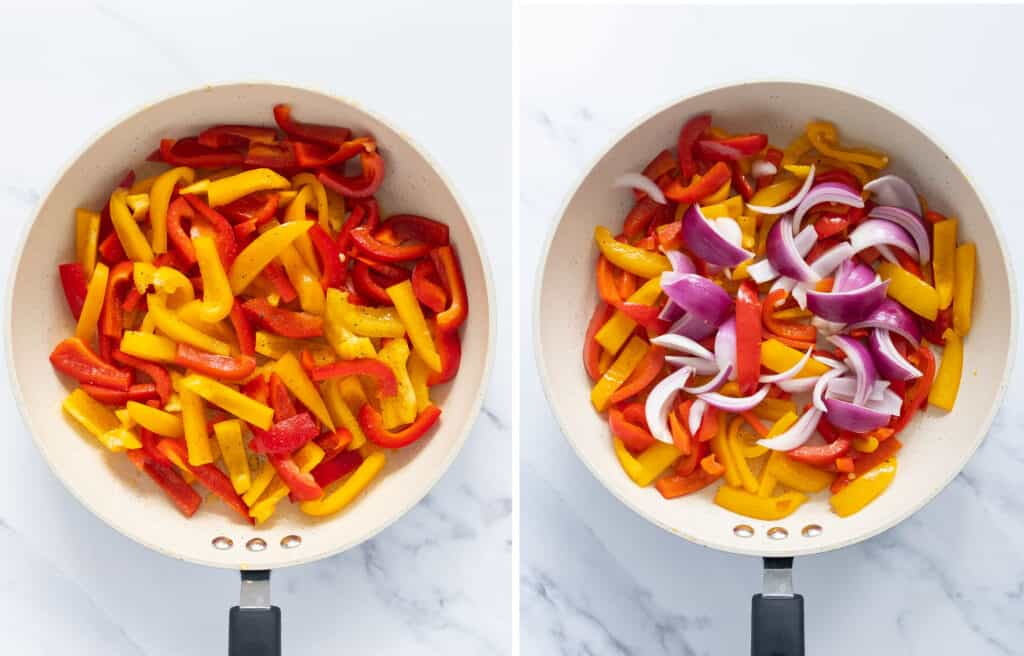 Top view of a pan full of peppers and red onion over a white background.