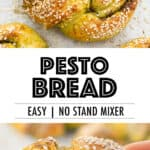 Pesto bread with sesame seeds over a white background.