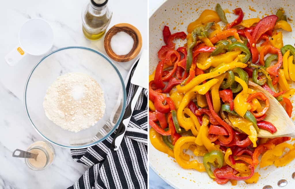 Top view of a glass bowl with flour and yeast and a pan full of cooked mixed bell peppers.