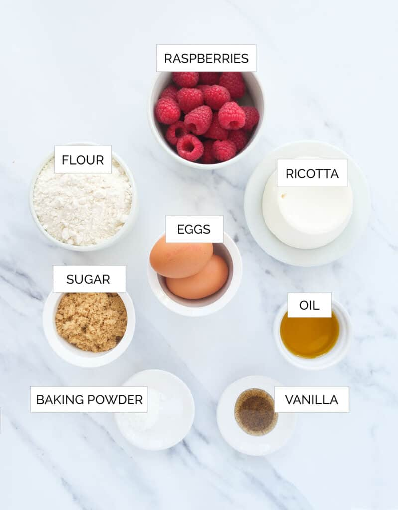 The ingredients to make this raspberry ricotta cake are arrange over a white background.
