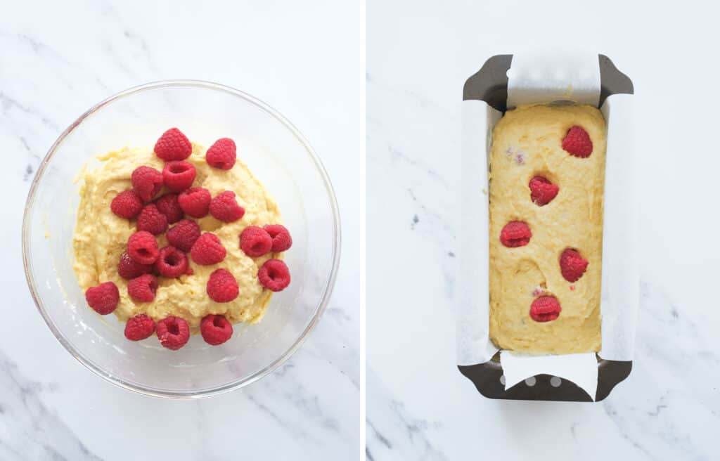 Top view of a glass bowl full of batter and raspberries and a loaf pan filled with the same batter.