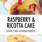 Close-up of a raspberry ricotta cake loaf cut into slices.