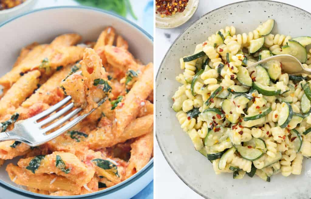 Two images showing a white bowl full of penne with ricotta and tomato sauce and plate full of pasta with zucchini.