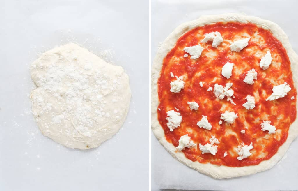 Top view the soft no-knead pizza dough onto parchment paper, stretched and topped with tomato sauce and mozzarella.