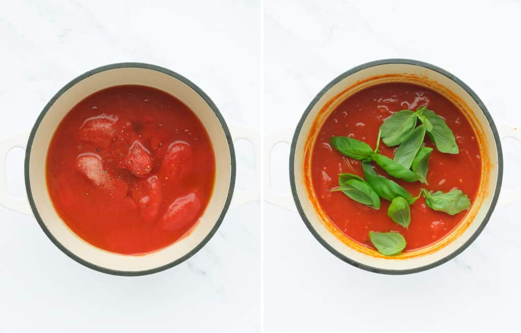 Top view of a white pot full of easy tomato soup with fresh basil leaves over a white background.