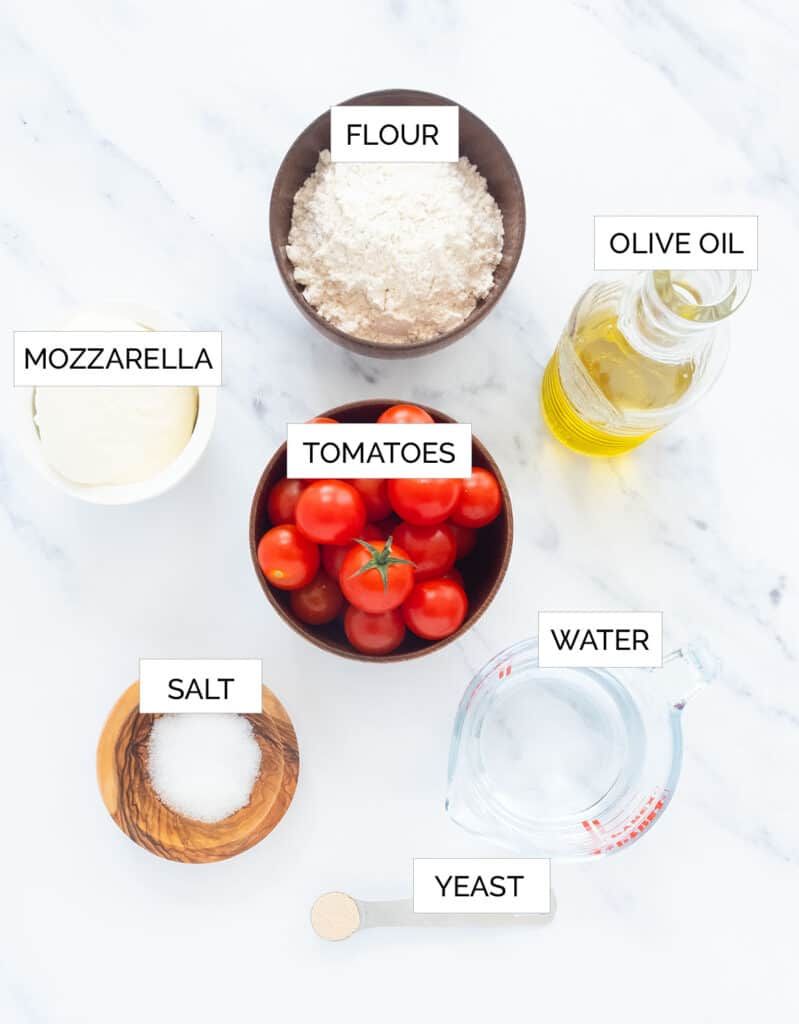 Top view of the ingredients to make fresh tomato pizza.