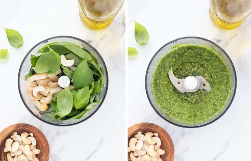Top view of a small food processor full of the ingredients to make pesto.
