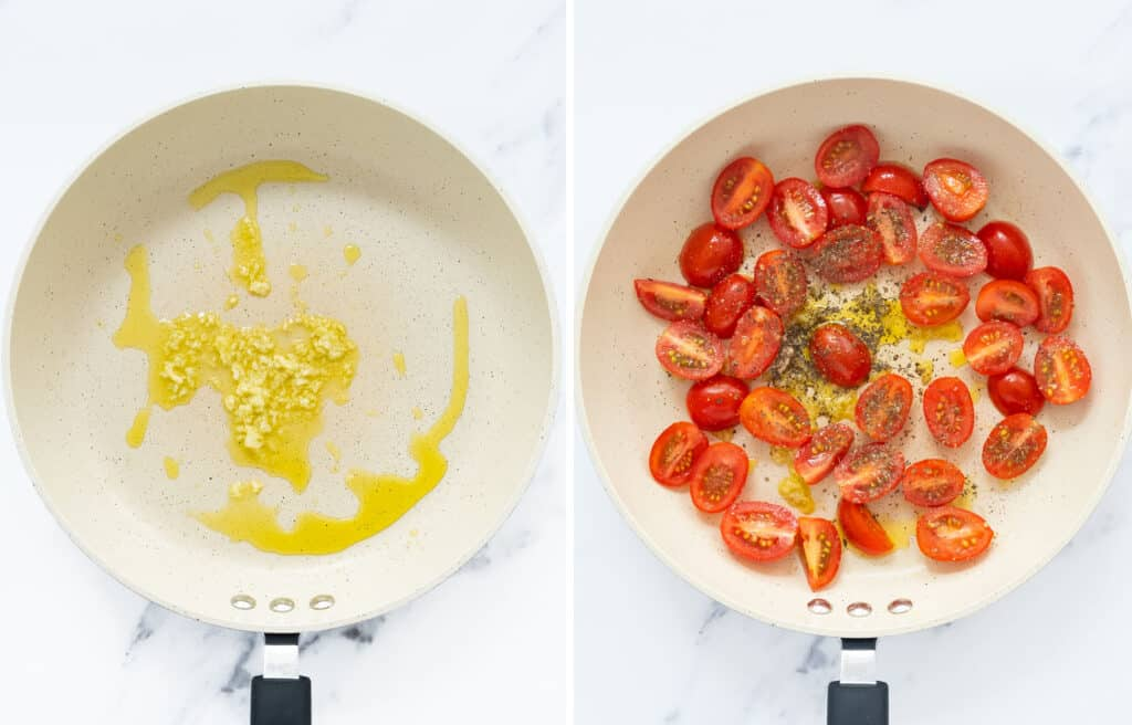 Top view of a white pan with olive oil, garlic and cherry tomatoes.