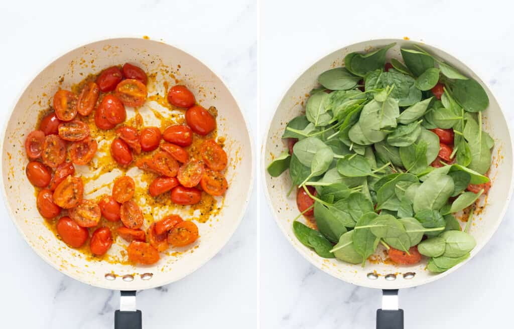 Top view of a white pan with cherry tomatoes and spinach.
