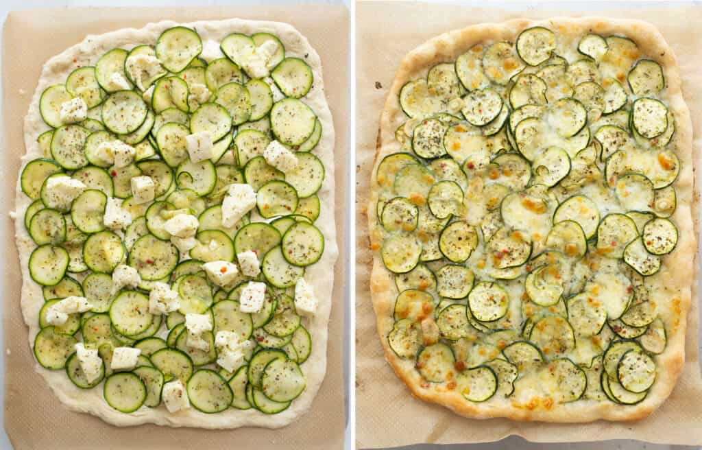 Top view of a large pizza with zucchini before and after the baking .