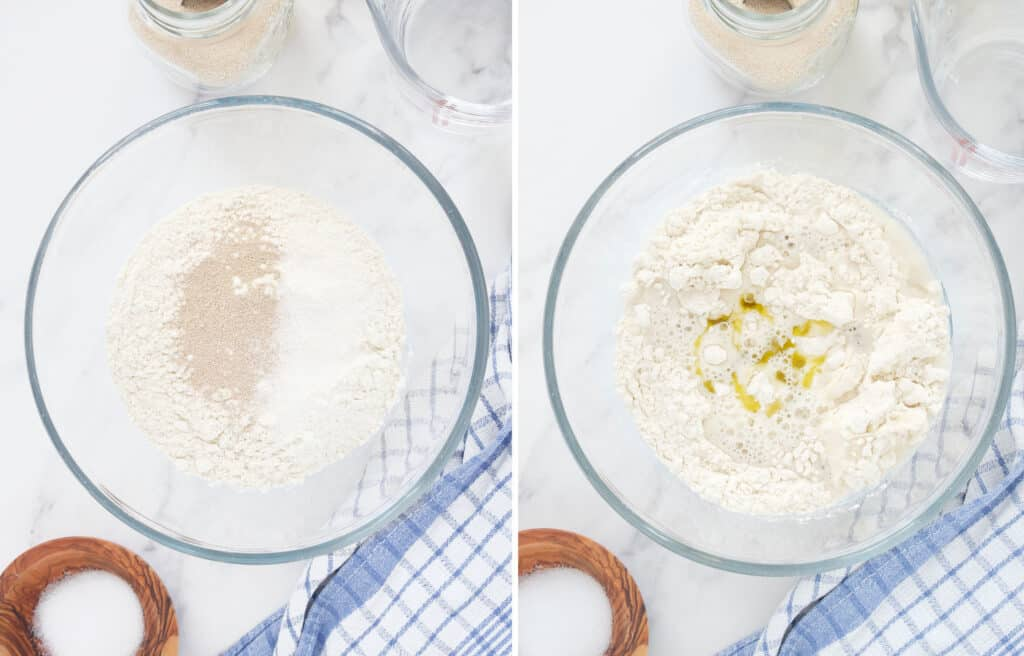 Top view of a glass bowl full of flour, yeast, salt and olive oil.
