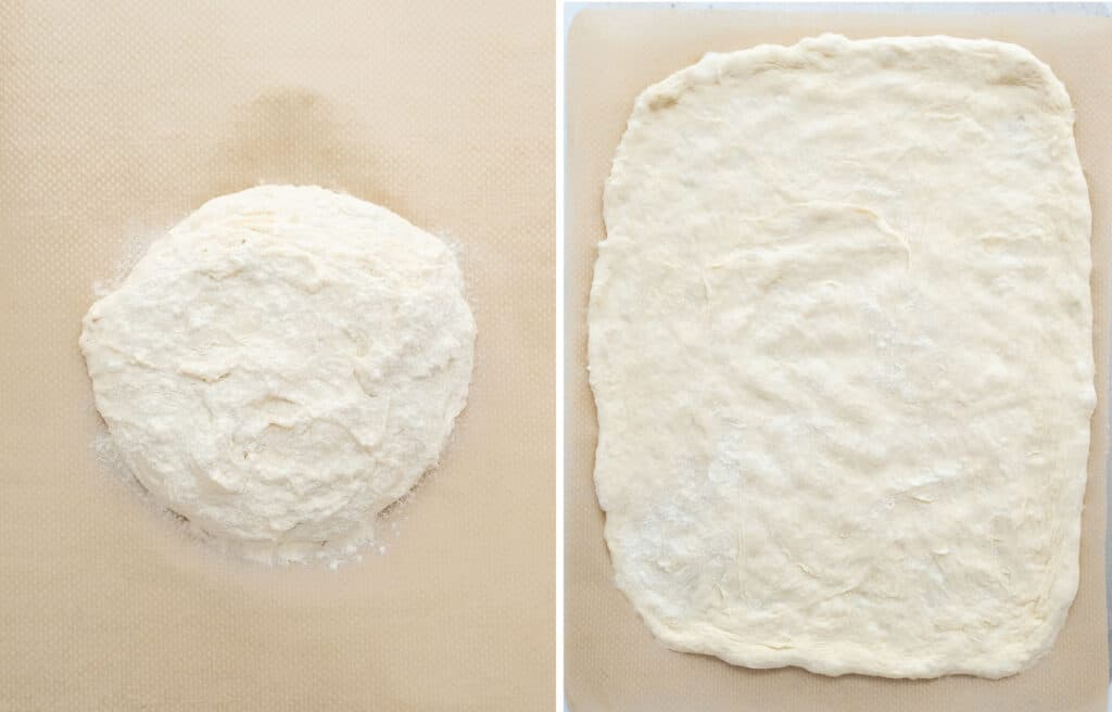 Top view of easy pizza dough over a large piece of brown parchment paper.