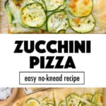 Top view of a slice of pizza with zucchini.
