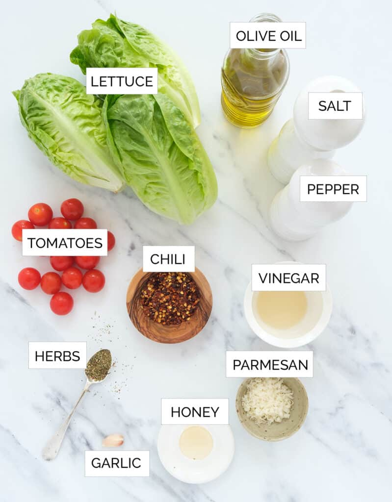 Top view of the ingredients to make this lettuce salad recipe.