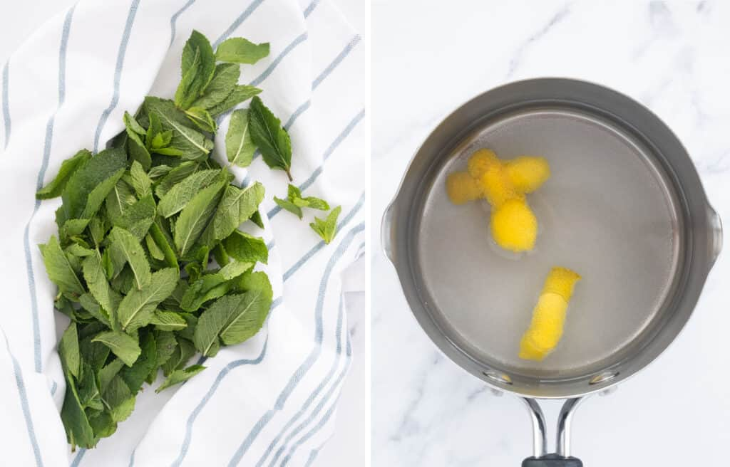 Top view of a bunch of mint over a white  tea towels and a pot full of water, sugar and lemon peel.