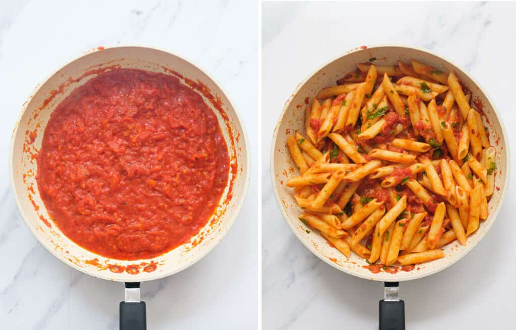 Top view of a white pan full of spicy tomato sauce and penne.