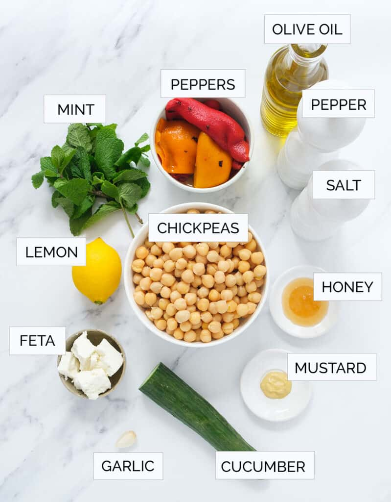 The ingredients to make this salad with mint are arranged over a white background.