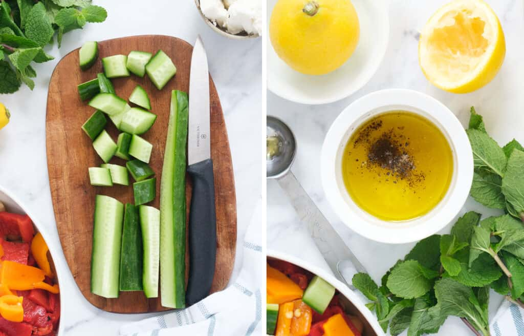 A diced cucumber on a chopping board with a knife on the left and small white bowl full of salad dressing on the right. Mint leaves in the background.