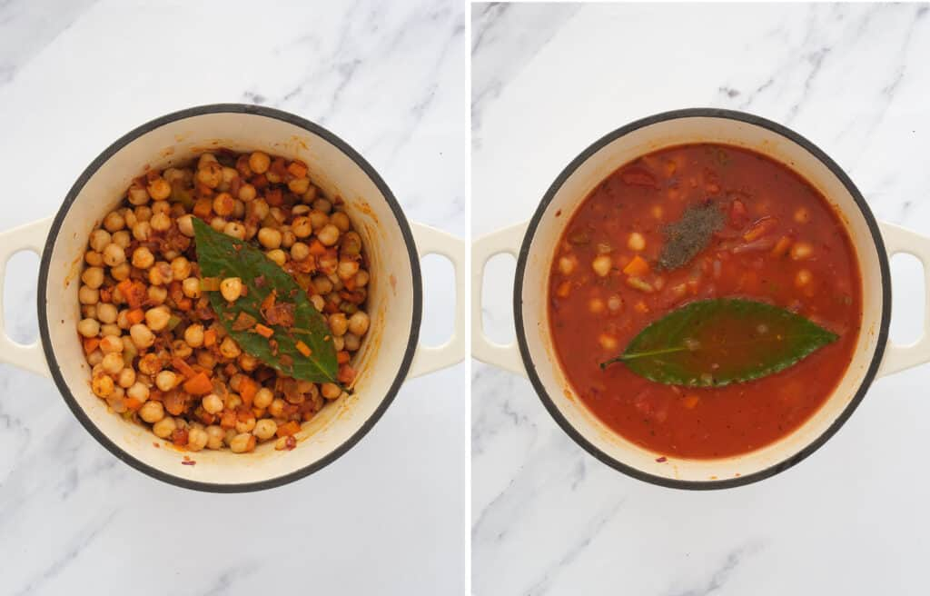 Top view of a white Dutch oven full of chickpeas and broth infused with paprika and oregano.
