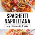 A white plate full of pasta napoletana.