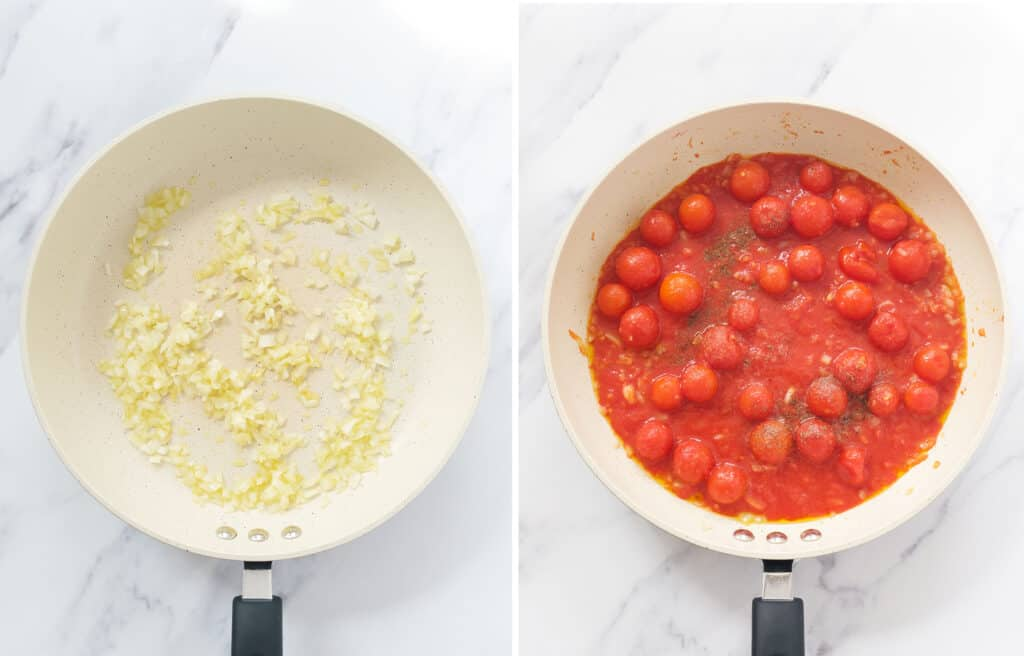Top view of a white skillet full of diced onion and canned cherry tomatoes.