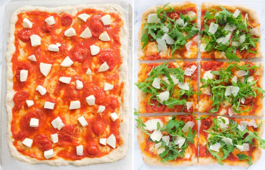 Top view of a large rectangular pizza before and after baking.