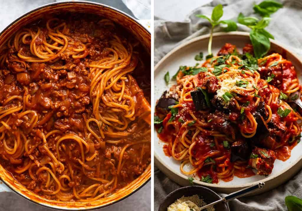 Top view of a a pan full of spaghetti bolognese and a plate full of spaghetti with tomato sauce and roasted eggplant.