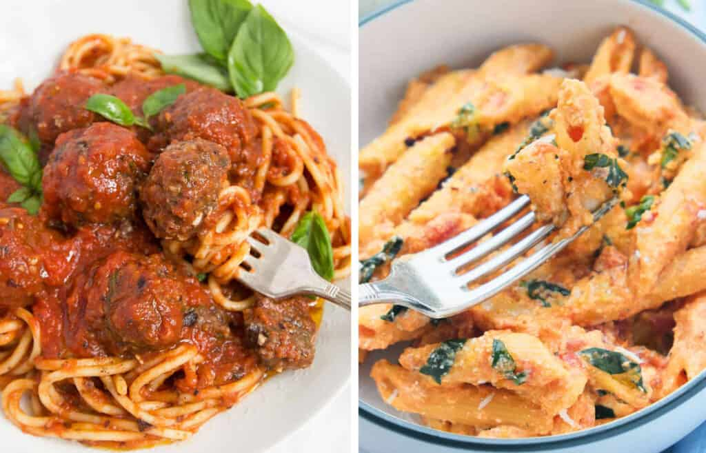 Close-up of two recipes made with canned tomatoes: a plate full of vegan meatballs and a bowl full of penne with tomato sauce.