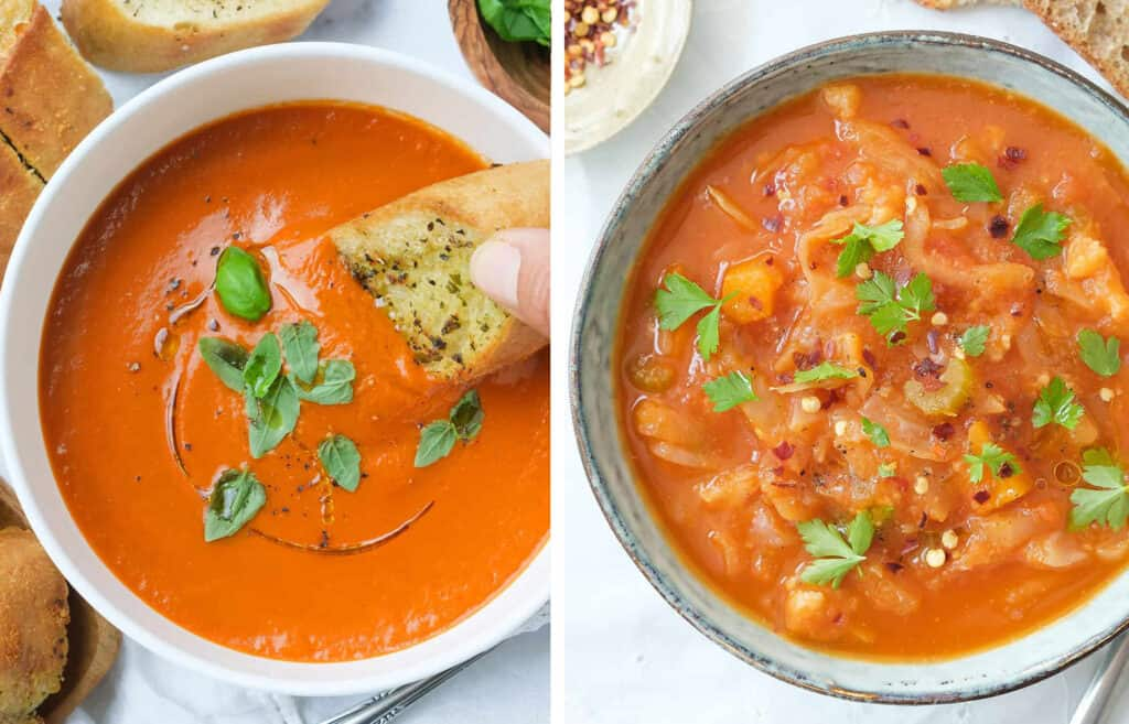 Top view of two recipes with canned tomatoes: a bowl full of tomato soup and a bowl full of cabbage soup.