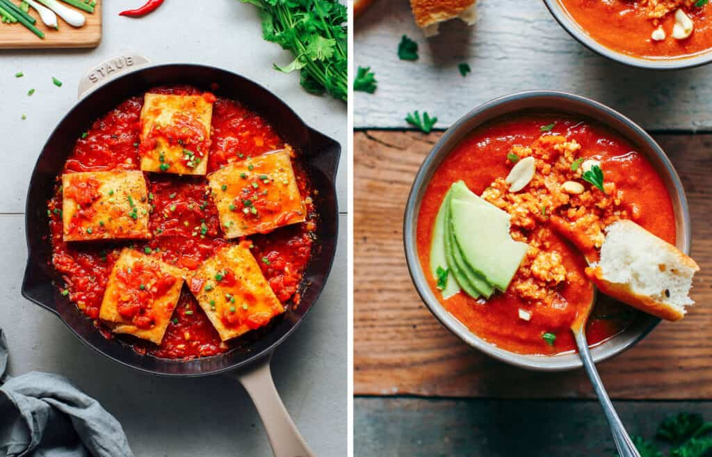 Top view of two recipes with canned tomatoes: a black skillet with tofu and tomato sauce and a bowl with a soup garnished with peanuts and avocado.