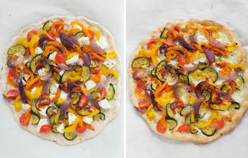 Top view of a round pizza with vegetables before and after baking.